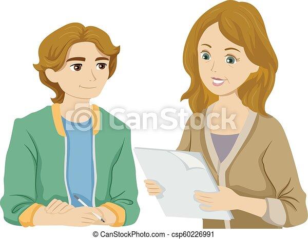 Teen Boy Mother Check Assignment Illustration - csp60226991