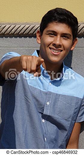 Teen Boy Pointing - csp46846932