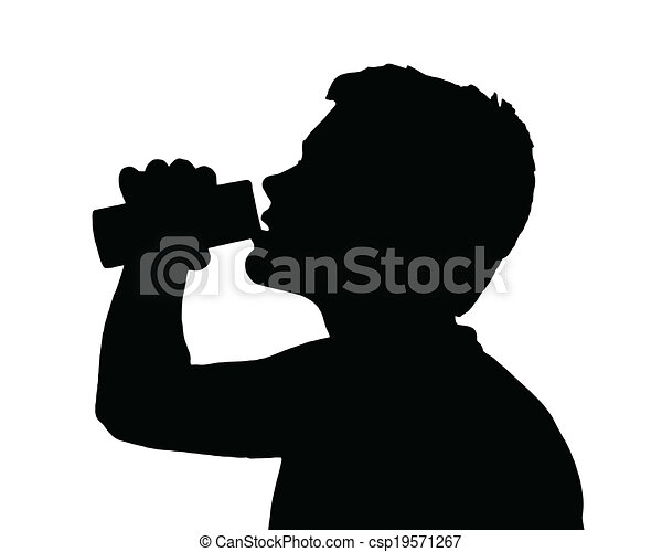 Drinking Boy Silhouette Fluid From Teen Can