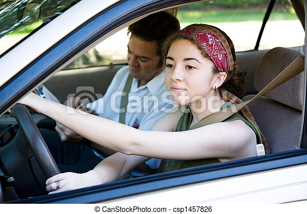 Teen Driver on the Road - csp1457826