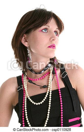 6cf46d7edd011 Teen fashion. Close up of teen girl in trendy alternative make-up ...