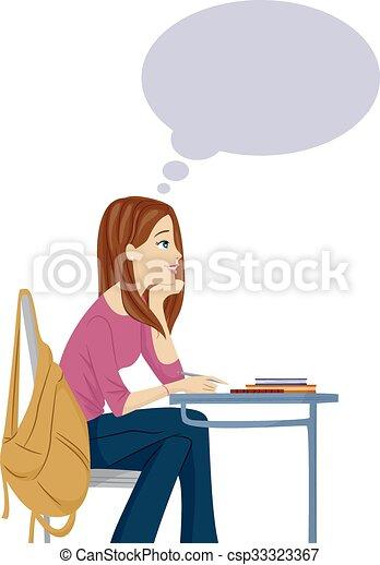 Teen Girl Day Dreaming Class