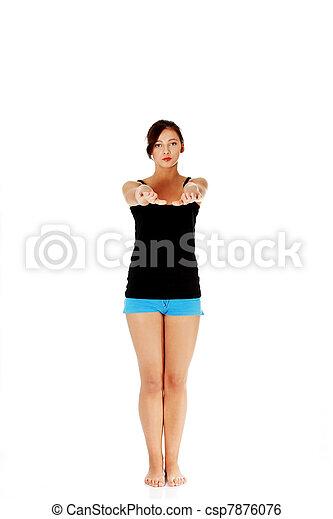 Teen girl doing exercise. - csp7876076