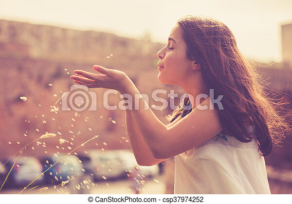 teen girl having fun outdoor - csp37974252