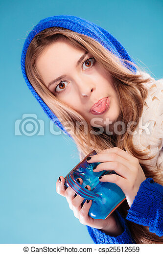 Teen Girl Holding Blue Mug With Hot Drink Csp25512659