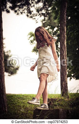 teen girl in park - csp37974253
