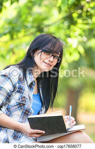 Teen girl in the park. - csp17658077