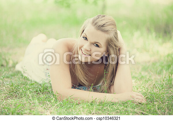 Teen girl in the park. - csp10346321