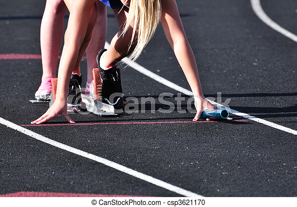 Teen Girl in the Starting Blocks - csp3621170
