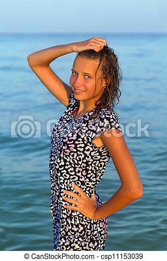 teen girl in wet dress - csp11153039
