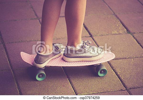 teen girl on skate - csp37974259