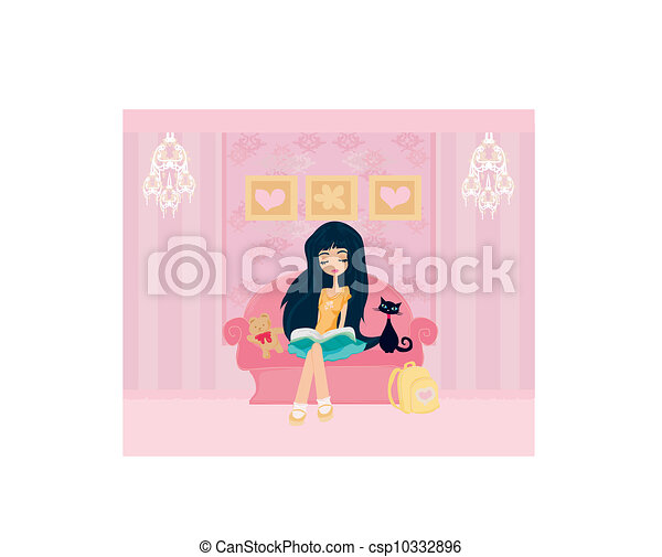 Teen girl Reading A Book  - csp10332896