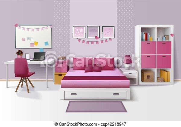 Teen girl room interior realistic image. Teen girl room modern ...