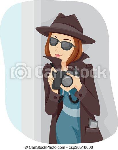 Teen girl spy. Illustration of a teenage girl dressed like ...