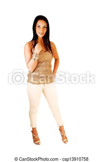 Teen girl standing. - csp13910758