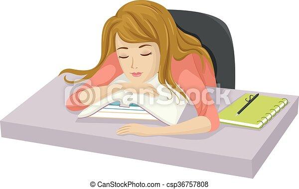 Teen Girl Study Sleep - csp36757808