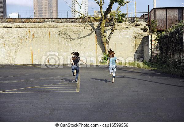 Teen Girls Running - csp16599356
