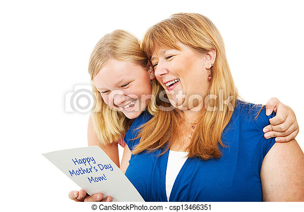 Teen Gives Mothers Day Card to Mom - csp13466351