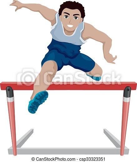 Teen Guy Athlete Jump Hurdles