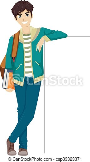 teen guy college student lean board illustration of a vectors rh canstockphoto ca female college student clipart college student studying clipart
