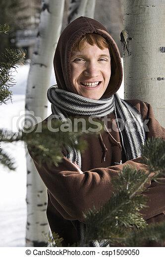 Teen in winter setting. - csp1509050