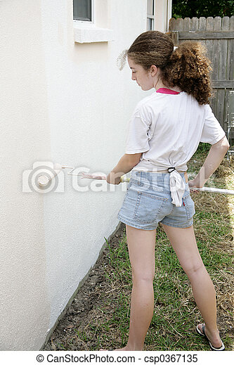 Teen Painting House - csp0367135