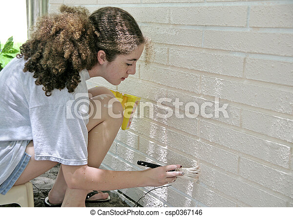 Teen Painting House Trim - csp0367146