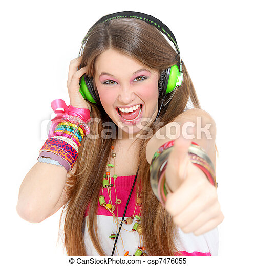 teen with headphones and thumbs up - csp7476055