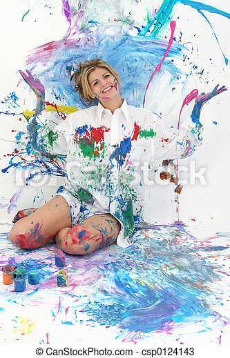 Teen Woman Painting - csp0124143