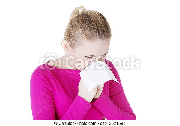 Teen woman with allergy - csp13621591
