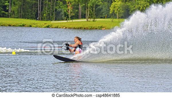 Teenage Boy on Ski Course - csp48641885