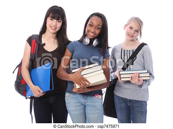 teenage dziewczyny, trzy, student, etniczny, wykształcenie - csp7475971