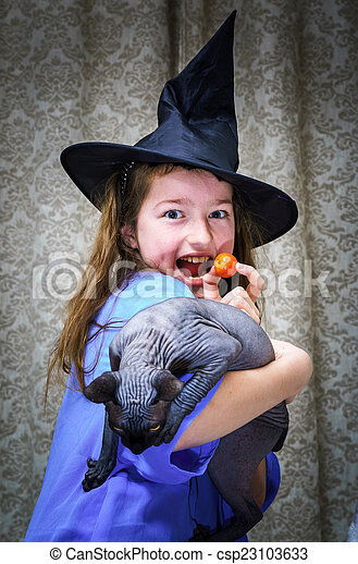Teenage girl dressed in witch costume - csp23103633  sc 1 st  Can Stock Photo & Teenage girl dressed in witch costume with sphynx cat.