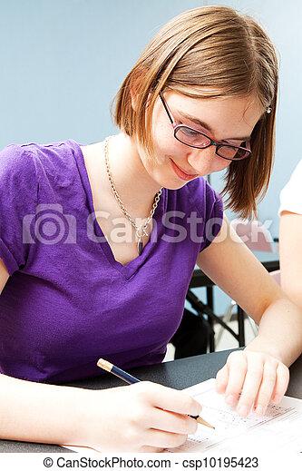 Teenage Girl in Class - csp10195423