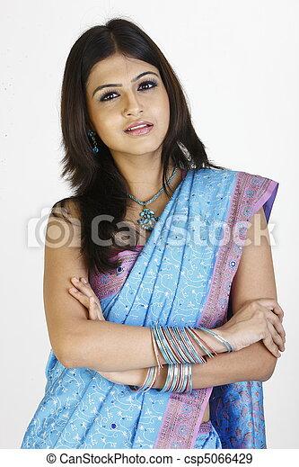 teenage girl in saree