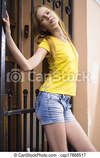 teenage girl posing in the city - csp17868517