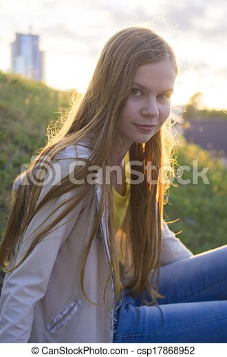 teenage girl posing in the city - csp17868952