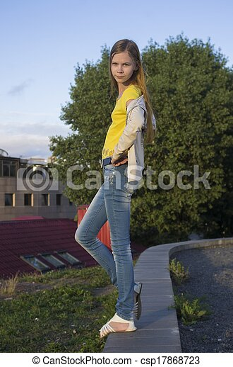 teenage girl posing in the city - csp17868723
