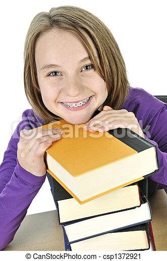 Teenage girl studying - csp1372921