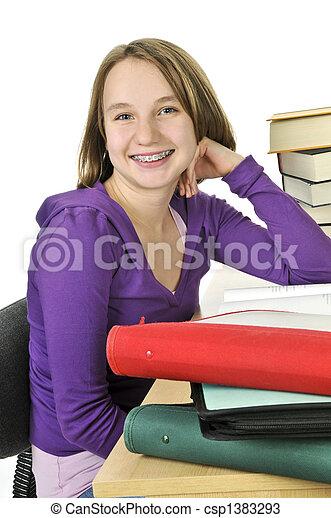 Teenage girl studying - csp1383293