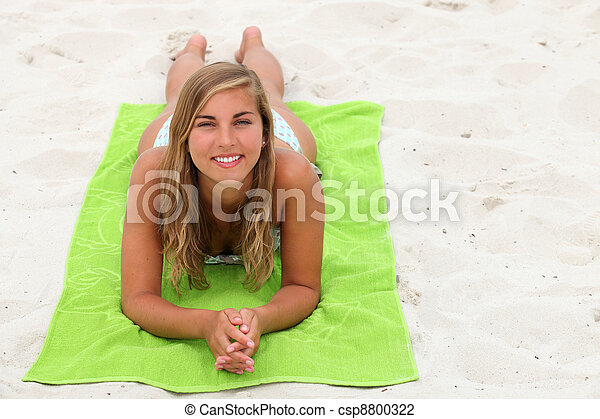 beach Teen girls sunbathing on