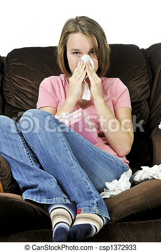Teenage girl with a cold - csp1372933