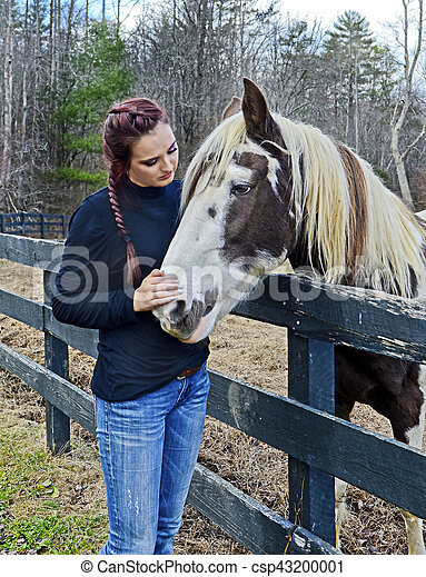 Teenage Girl with a Horse - csp43200001