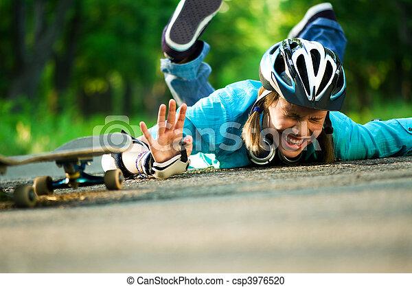 Teenage girl with skateboard - csp3976520