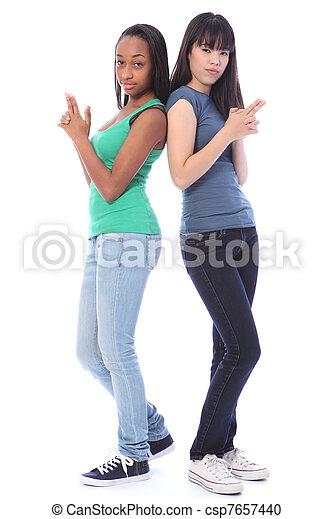 Teenage Girls Playful Secret Agent Fun Gun Pose Two Beautiful Teenage Friends A Mixed Race African American And Oriental