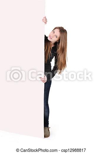 Teenage woman with big banner - csp12988817