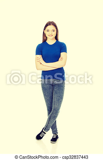 Teenage woman with crossed arms. - csp32837443