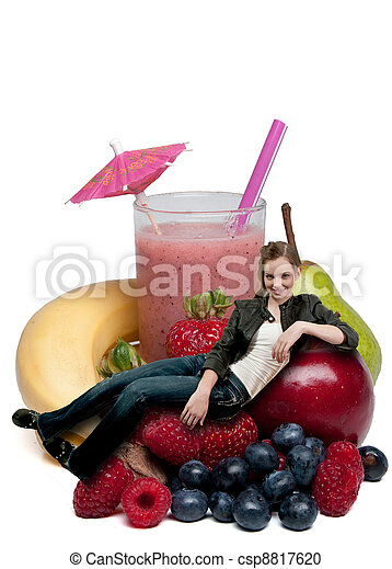 Teenage Woman with Fruit Smoothie - csp8817620