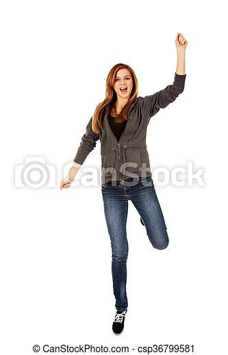 Teenage woman with hand up - csp36799581