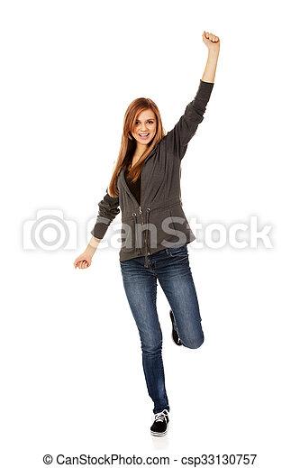 Teenage woman with hand up - csp33130757